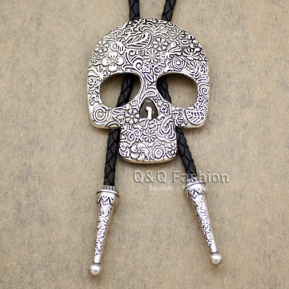 funky silver Skull Brocade Faux-Leather Lariat Necktie Bolo Tie Line Dance