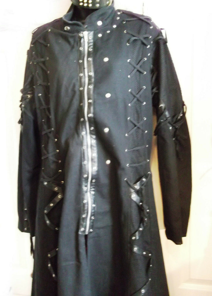 black punk/Gothic coat Raven Sdl long coat, lAce-up corsettry.STUNNING.LARGE