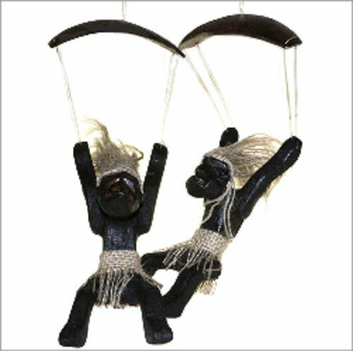 Primitive Art - Men Doing Things  Hand carved figures-various poses-PARACHUTIST