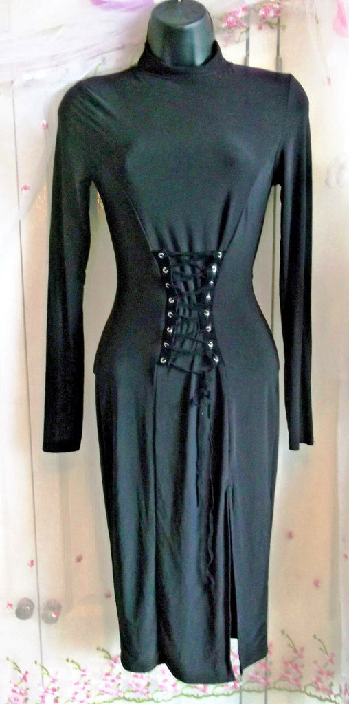 Missguided Black Dress Size 6 Ling Sleeve Body Con Knee Length