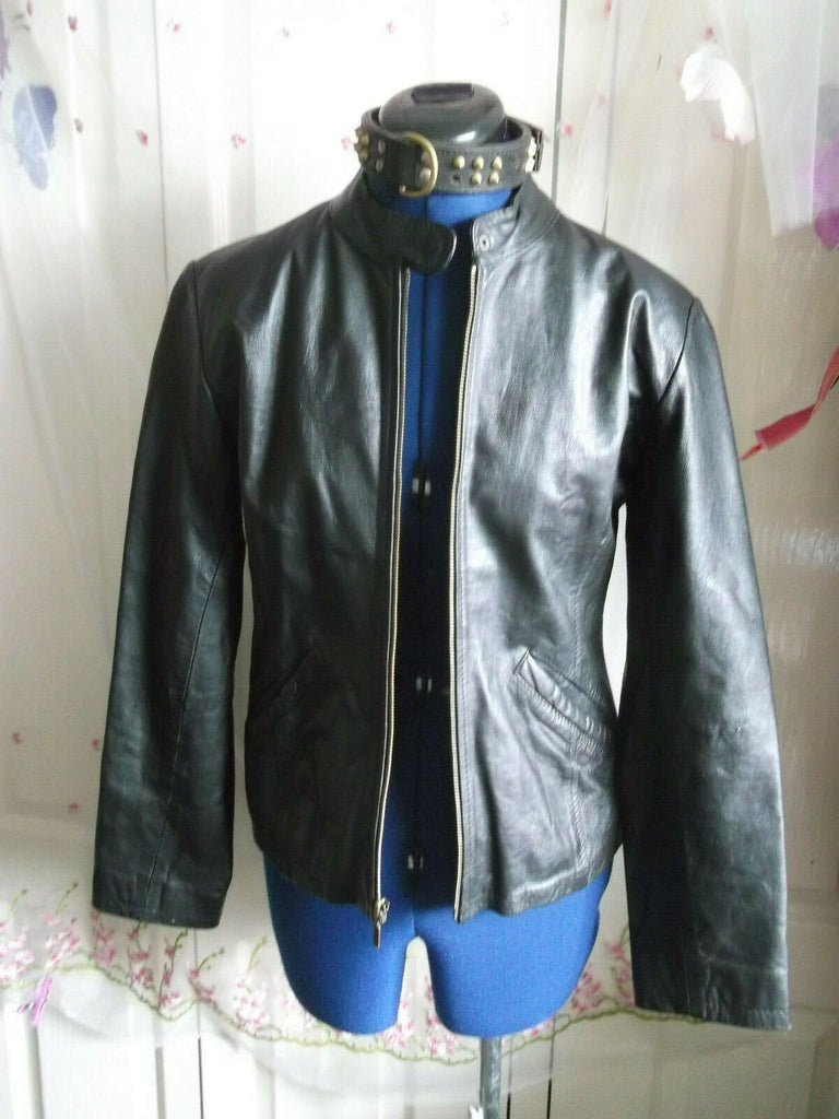Vintage BARNEYS BLACK leather biker/punk/hip jacket.size10.ZIP front,STUD COLLAR
