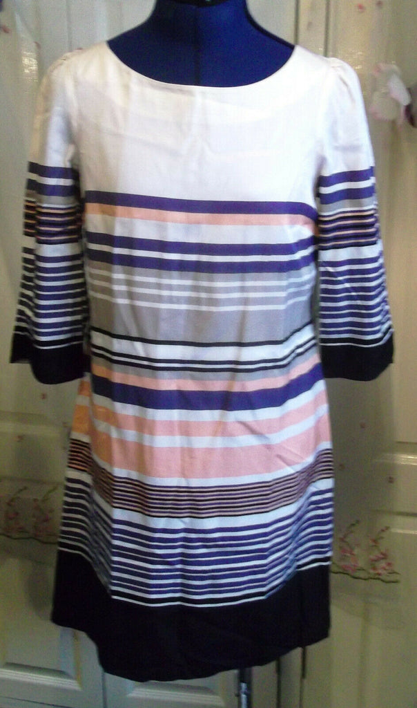 Size 8 Monsoon Dress Striped,lined,3/4 Length Sleeves, lined,button mandarin col