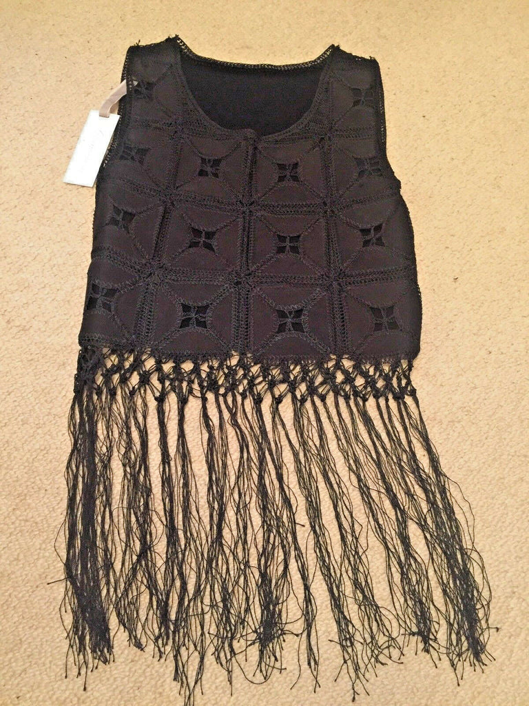 funky black Boho Festival Fringe Top Size 10 BNWT-new with tags.