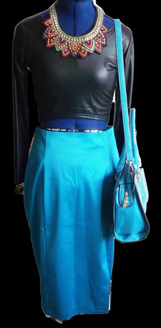 PUNK/goth/BOHO/VINTAGE turquoise/teale satin, calf length pencil skirt.size12.