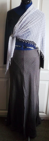 STEAMPUNK/goth/BOHO/vintageBROWN PINSTRIPE Long floaty WHITBYSKIRT,SIZE12,DETAIL