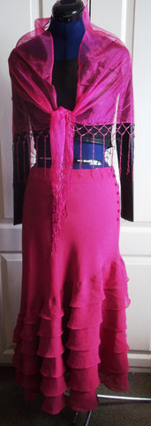 BOHO/FLAMENCO style pink flouncy,layer ,long skirt.size14uk.long,button detail
