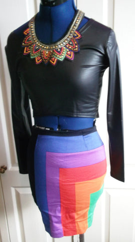 PUNK/boho unusual multi-colour skirt.size Small 8/10uk.mini.stretchy,zip,