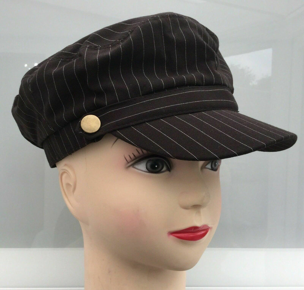 new PEAK CAPS CADET STYLE HATS IN 4COLOURS IN SUIT PINSTRIPES.adjustable sizing