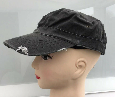 new PEAK CAPS CADET STYLE HATS IN 3 COLOURS IN distressed cotton.adjust sizing