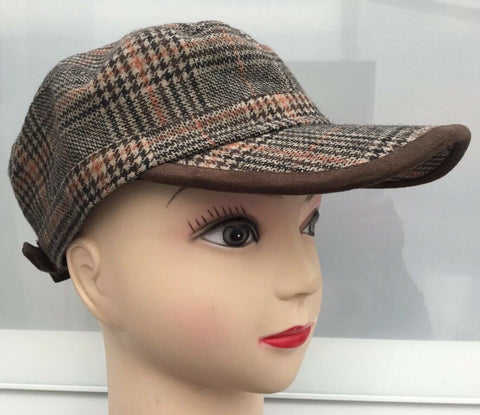 peaky blindersTWEED CHECK CAPS ADJUSTABLE SIZE WOOL COUNTRY STYLE HATS -2colours