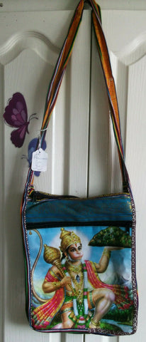 UNISEX UNUSUAL HINDU DEITY CROSSOVER TOTE BAG3- LINED.ZIP FAST 29CM X34CM LONG