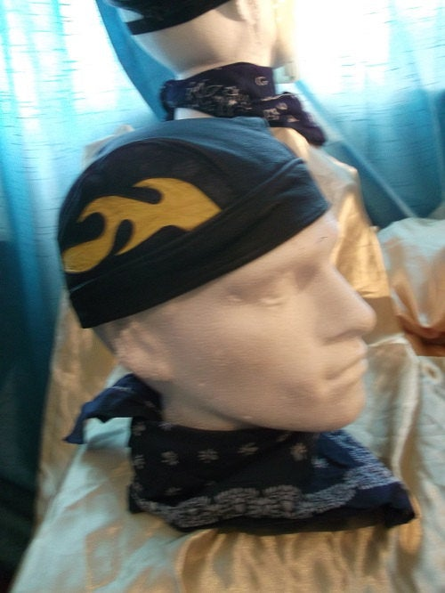 Vintage Leather SKULL-CAP/BANDANA, BLack with yellow flame design