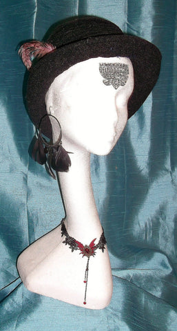 boho/hippy/festi/ black ruffled wide brim HAT