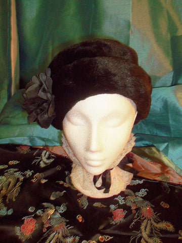 Burlesque/punk black sumptuous faux fur HAT with flower embellishment
