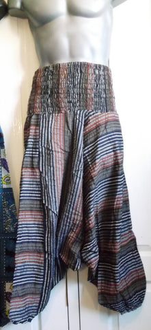 UNISEX Harem Trousers2 striped print - Patchwork Ali Baba Design. thick cotton