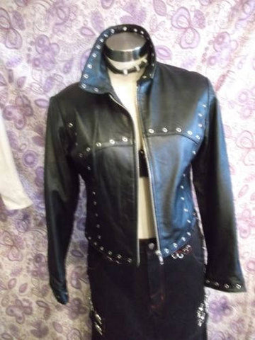 gorgeously Funky Ladies Milan Real Leather Black Jacket & Eyelet Detail Size12