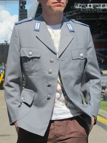 Grey Vintage Military Jacket Mens Festival Show Rock Band Biker Theatre Army 42