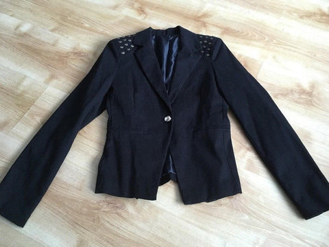 ITALIAN Ladies Skull Blazer Jacket Size 10/12 S Black Steampunk Goth Punk