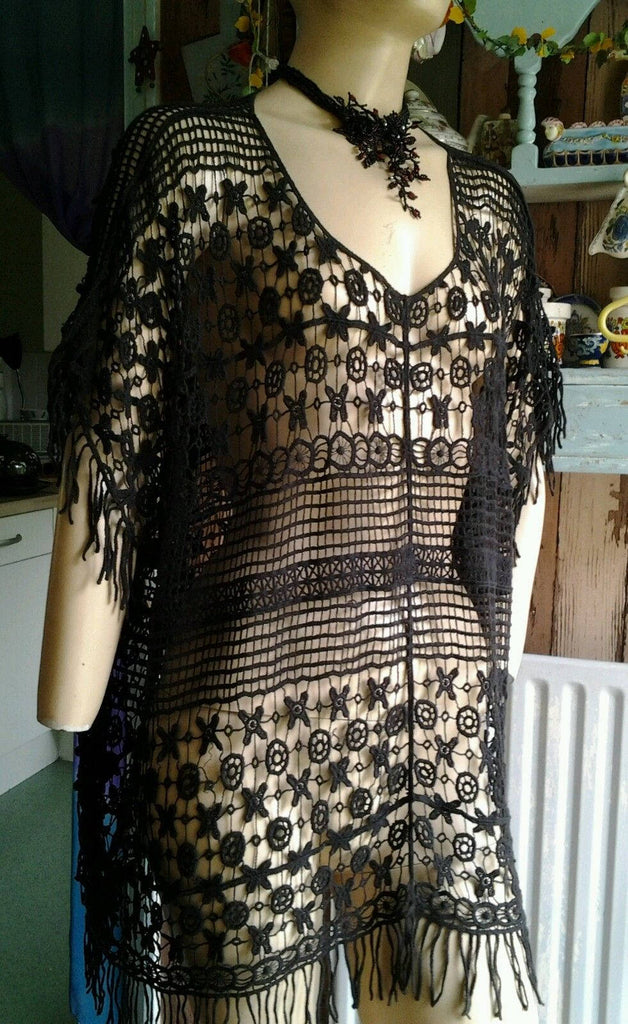 Vintage Steampunk goth hippy black Cotton MIX Crochet dress