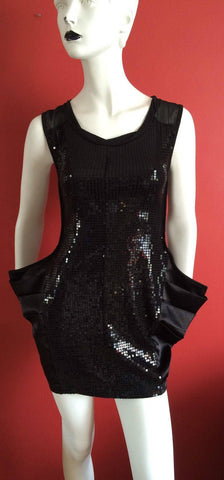 Heaven Black Sequined Dress Size S/M -10-12 uk (Unusual/Quirky) knee length