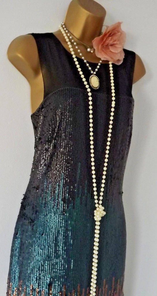Vintage 1920's Style Gatsby Flapper Charleston Downton Deco sequin dress 10,lined