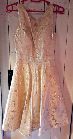 gorgeous hand-made gold flouncy, 50's style dress, under-layered skirt. must be seen.SIze10, elasticated sides