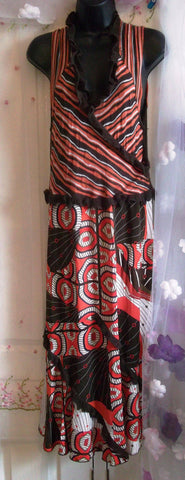 Designer Evalinka Midi Dress Boho/ Hippy Style S/M-brown/orange,lined skirt,lush