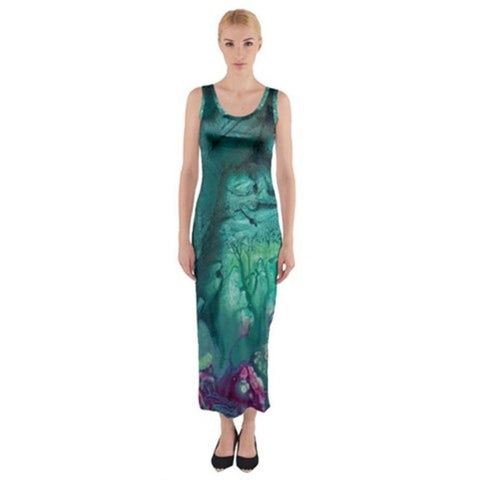 BLUE FEARIE Exclusive,Original Designer Fitted Maxi Dress Size:Medium10-12uk