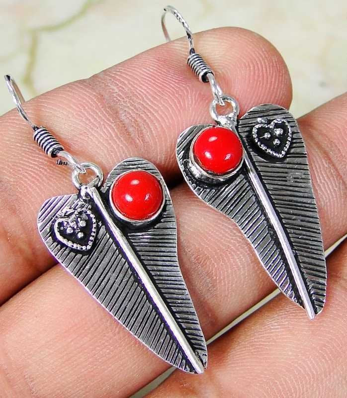 Red Coral & 925 Silver Handmade Beautiful Earrings 47mm