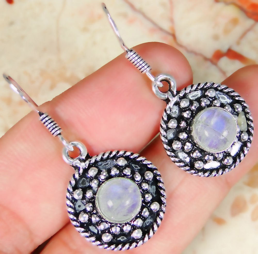Rainbow Moonstone & 925 Silver Handmade Designer Earrings 36mm withgift-box