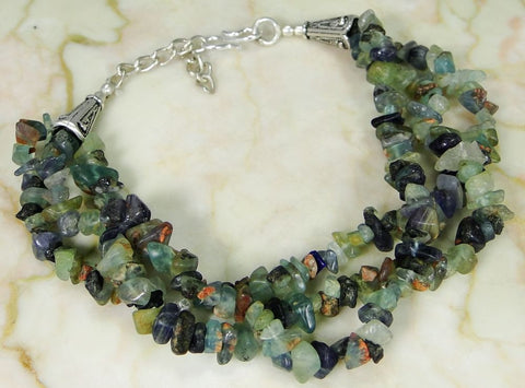 Multi Gemstone & 925 Silver Handmade Designer Bracelet 255mm WITH gift-box