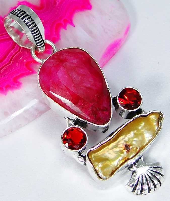 Ruby & 925 Silver Handmade Stylish Pendant 50mm with 925SilverChain ,gift box