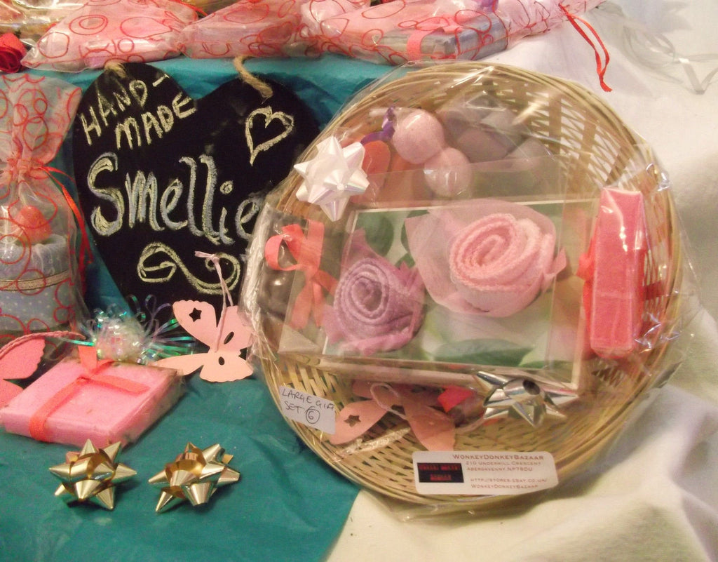 valentines day/mothers day hand-made-soaps in -pink purple basket 6 GIFT SETS.perfect