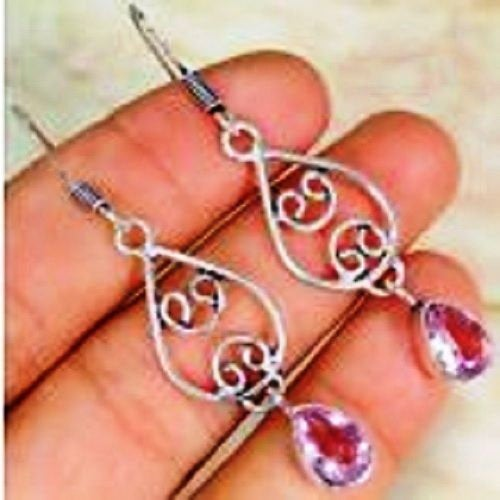 Quartz Pink Topaz & 925 Silver Handmade Beautiful Earrings 55mm with gift box. Perfect GIft Item
