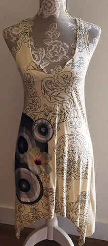 cream Desigual Long Top Short Dress Size Small Ladies Womens Girls.sleeveless.stunning designer item