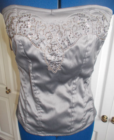 Stunning Vintage eye-catching SteamPunk silver silk corset with exquisite hand-embellished, sequins