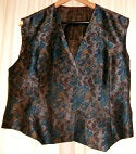 Vintage Chic/ Steam Punk UNISEX Blue Silk, flower relief design Waistcoat with grey silk ling