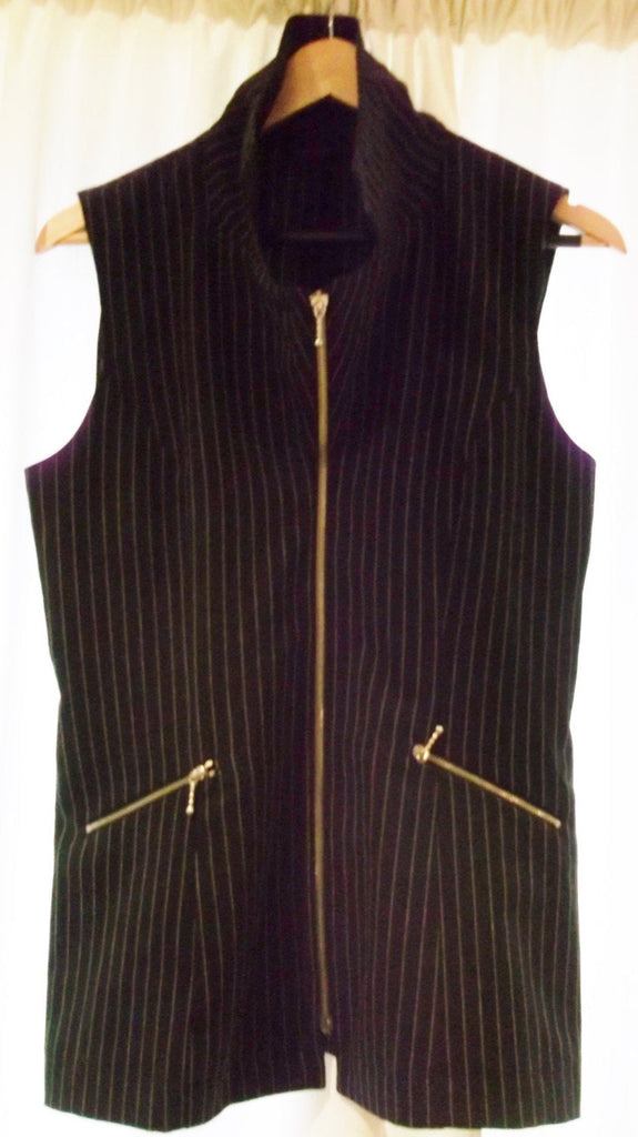 Funky Vintage Chic/ Steam Punk UNISEX Black pin-stripe, fitted Waistcoat -with high collars.Finest Quality Dude/Dudette Clobber Item