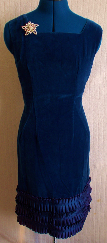 Glamourous, UnusualMidnight Blue Velvet Vintage Designer Dress, with ruffled satin hemline.Sleeveless lined.Size 36