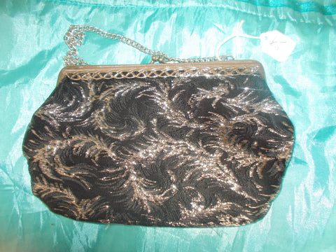 Fab gift item, or party wear accessory- Vintage glam black velvet clutchbag-with gold sparkly swirl designs