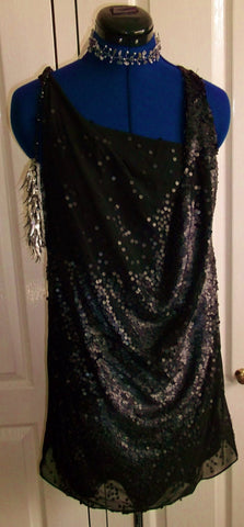Access your inner DIva -Retro  'little black dress' size 12, drapes, sleeveless, dull sequins