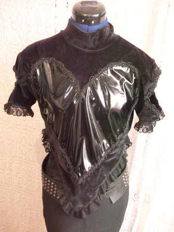 PUNK /gothROCK bespoke ORIGINAL velvet/pvc heart top. size10.cut-out back design. one off.