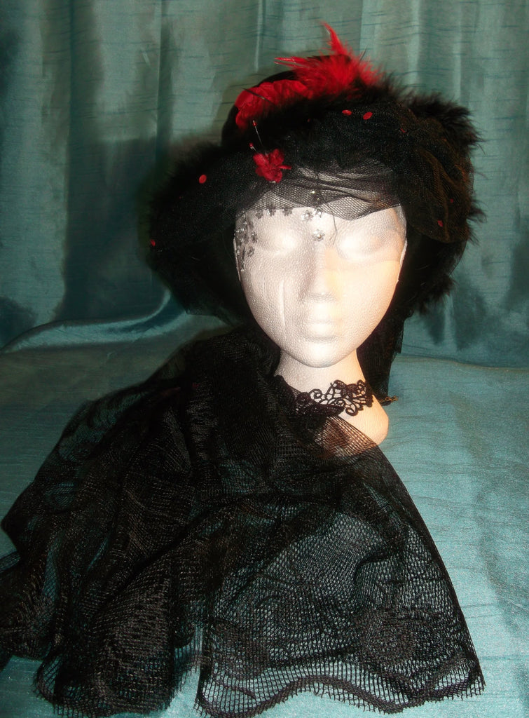 Bespoke.SteamPunk rounded velvet tophat-black&red feathers, embellishments