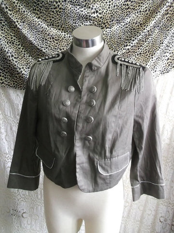 punk/steampunk khaki military style jacket.size 16 with diamante embellishments.