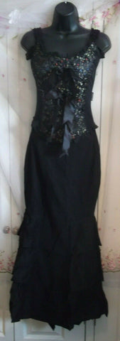 Lolita Rose Corset-black satiing/emboridered panels,satin bows,ribbons.size10/12