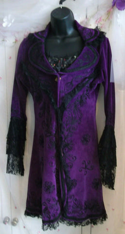 purple Funky Threads lightweight jacket Pagan/Wiccan size s/m, embroiderered