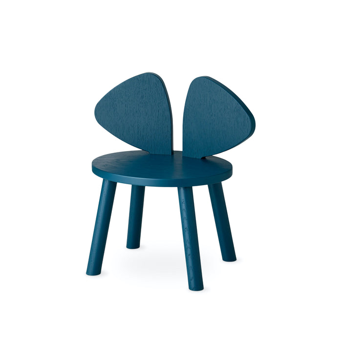 Blue chair for kids, backrest shaped as mouse ears
