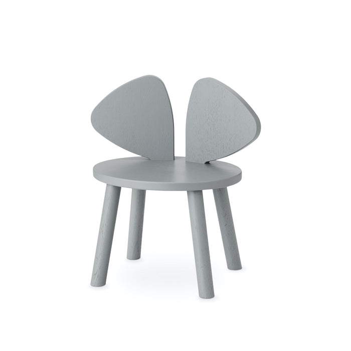 Kids chair in grey, seat height is 26 cm, backreat is shaped like big mouse ears