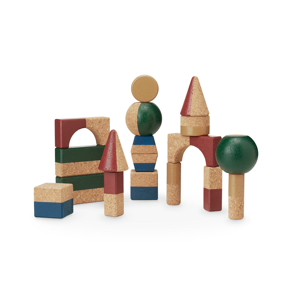 18 building blocks in natural cork, various shapes   and sizes, painted in red, green, yellow and blue.