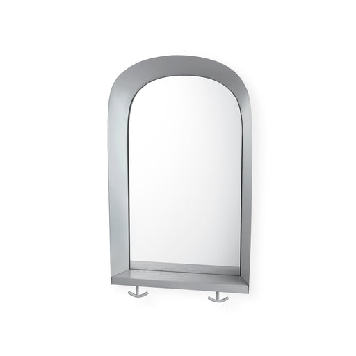 Mirror with grey frame, shelf and two hooks attached at the bottom